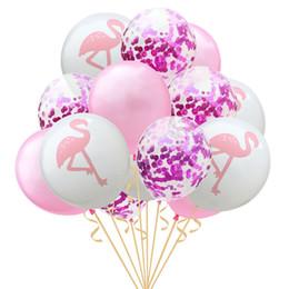 2019 decoração do flamingo 15 pcs 12 inch Flamingo Abacaxi Folha de Tartaruga Balões De Látex Confete Balões para Decoração de Casamento Aniversário Do Havaí Decoração Do Partido decoração do flamingo barato