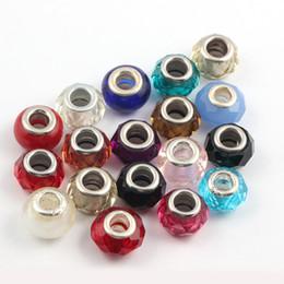 Canada Mélanger les styles de verre 50pcs / lot de style européen à facettes 30 - couleur Perles en verre de cristal perles trou Grand Fit pandora bijoux Diy Charm B Offre