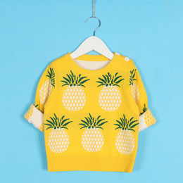 2019 padrões de confecção de malhas de roupas de bebê Bebés Meninas abacaxi Padrão camisola Crianças Primavera manga comprida roupas de malha bonito da criança Pulllover para 1-5 Y dos bebés desconto padrões de confecção de malhas de roupas de bebê