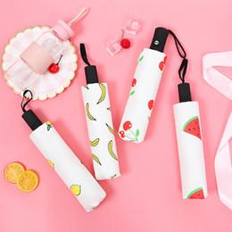 tecido de impressão de frutas Desconto Engraçado Umbrella Pongee Tecido Frutas Impresso Automatic Umbrella 8 Costelas Ensolarado Chuvoso Três Dobrável