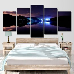 Pinturas de iluminación del paisaje online-Pinturas de Lienzo Modulares Wall Art HD Prints Poster 5 Unidades Noche de Montaña Luz Paisaje Paisaje Decoración Hogar