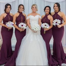 2019 vestidos de dama de honra vermelho boêmio New Hot Roxo Uva Sereia Vestidos de Dama de Honra Elegante Halter Árabe Pescoço Rendas Apliques de Casamento Convidado Vestidos de Festa Vestido de Feista