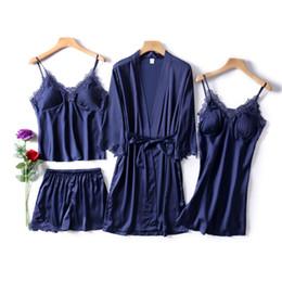 Pijamas azules online-Azul marino mujer Rayon ropa de dormir conjunto 4 piezas de manga larga conjunto de pijama verano Pijama Femme con cuello en v Pijama moda casa ropa