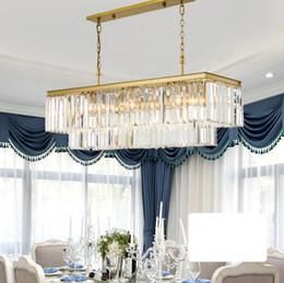 Kronleuchter kristall rechteck anhänger online-Platz RH Moderne Glaskristallleuchter Lichter Goldene hängende Kette Rechteck LED Kronleuchter Pendelleuchte Lampe für Dinning Room LLFA
