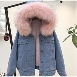 vestidos de lã de trabalho de lã Desconto 2019 Winter Fashion Mulheres Denim Jacket casaco quente Fleeced para a menina encapuçado da pele Cotton Collar casaco quente Jacket solto acolchoado Blends IG Hot S-2XL