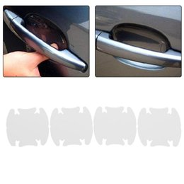 car door handles stickers Promo Codes - 4Pcs Car Door Handle Sticker Automobiles Handle Bar Scratches Guard Decal Transparent Invisible Protective Film Auto Accessories
