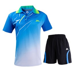 polyester badminton t shirts Coupons - New badminton T-shirt + shorts, men's and women's tennis shirts, sportswear short sleeves, fast-drying breathable table tennis s