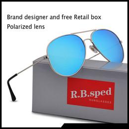 óculos polarizados uv aviador Desconto Nova moda piloto polarizada óculos de sol para mulheres dos homens do quadro do metal espelho polaroid lentes motorista óculos de sol com caixas marrons e caixa