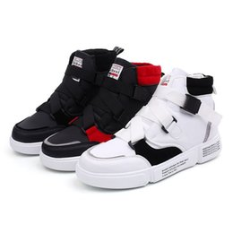 aa48e6cfadd cool high top casual shoes Promo Codes - Cool Men High Top Sneakers Men  White Leather