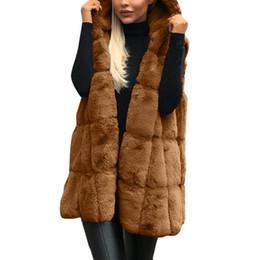 Casual invierno espesar Faux Fur Chaleco chaqueta Mujeres Color sólido con capucha Chaleco de moda desde fabricantes
