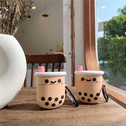 Tés de burbujas online-Por burbuja de Apple AirPods Caso Perla leche Tea cubierta 3D de silicona para Airpods 2 auricular de Bluetooth de la cubierta para el aire vainas