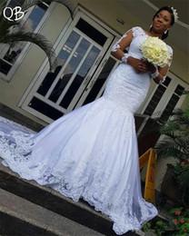 Robes de mariée sur mesure 2019 sirène à manches longues en tulle dentelle perles luxe élégant robes de mariée africaine ? partir de fabricateur