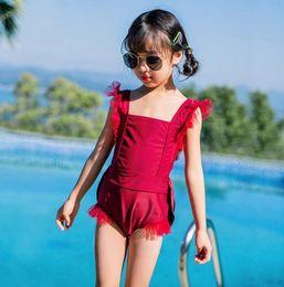 Kind bikini rot online-2019 Kinder einteilige Anzüge Bikini Set Kinder Baby Mädchen Bowknot Princess Red Bademode Badeanzug Badeanzug Kostüm Kleidung