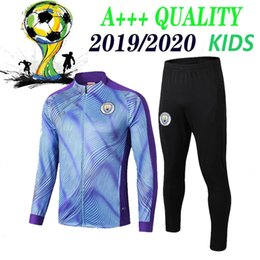 2019 темно-зеленые носки Kids 2019 2020 Man City Футбол Спортивный костюм KUN AGUERO SANE STEREING DE MAHREZ BERNARDO Тренировочный костюм 19 20 Спортивная молодежная футбольная куртка