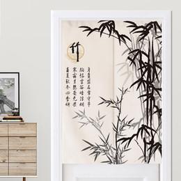 Porta di bambù online-Tradizionale stile cinese dell'inchiostro di bambù tenda di portello Cucina cortina di Bagno Camera Feng Shui Porta giapponese Noren