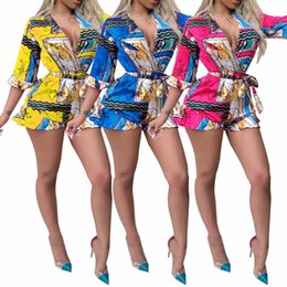 2019 monos para damas de talla grande Moda para mujer Sexy Jumpsuit 2019 Summer Loose Print Rompers Mujer Jumpsuit Elegante Body Plus Size S-2XL monos para damas de talla grande baratos