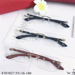 eaf6d8480b Mens Wood Gold Rimless Eyeglasses Glasses Optical Frame Clear Lens T8101027  Fashion Sun glasses Frames Eyewear New with box mens rimless eyeglasses  frames ...