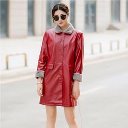 chaqueta de cuero de imitación de las mujeres coreana Rebajas Chaqueta corta de cuero de imitación roja grande coreana para mujer Abrigo 2019 Otoño Invierno Ropa de abrigo Corta cortavientos Ropa 6XL
