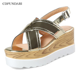 ad24a5832b1 CDPUNDARI Ladies Flat sandals for women Platform Sandals summer shoes woman  sandalias mujer 2019 Gold Silver platform flat sandals for women promotion