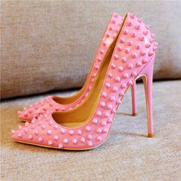 Logo de spike online-(LOGOTIPO original) Diseñador de moda de lujo zapatos rojos inferiores 8 cm 10 cm 12 cm tacones altos picos bombas de la boda marca zapatos de vestir para mujer