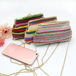 livre senhoras tricô padrões Desconto Sleeper # 5002 Senhoras Knitting Rainbow Pattern Carteira Bolsa De Ombro Frete Grátis