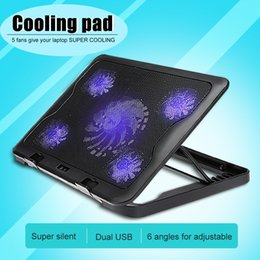 usb fan for tablet Coupons - C5 Laptop Cooling Pads 5 Fans With LED Light Dual USB Cooling 6 Levels Adjustable Stand Cooling Fans For 10-17 Inch Tablet PC