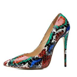 Bombas de impressão de serpentes on-line-Sexy stiletto saltos altos 2018 cores misturadas cobra impressão mulheres bombas do clube da festa de casamento sapatos tamanho grande 43