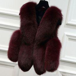 abrigo de zorro Rebajas M1601 Nueva Moda de Invierno Ropa de Mujer Chaqueta de Piel de Imitación de Piel de Zorro Recortar Chaleco de Imitación de Las Mujeres Faux Chaleco