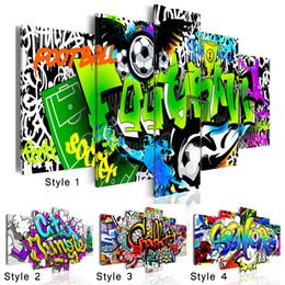 abstraktes buntes leinwandstück Rabatt Mode Wandkunst Leinwand Malerei 5 Stücke Kreative Abstrakte Schrift Aquarell Bunte Graffiti Fußball Moderne Dekoration Kein Rahmen, ch