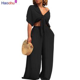 jogo de gravatas Desconto HAOOHU Plus Size Sexy Duas Peças Set Mulheres Outfits Bow Tie Tops + Calças Perna Larga Ternos Roupas Casuais conjuntos de Conjuntos de cor sólida