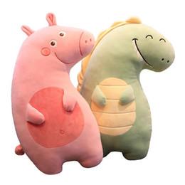 2019 brinquedos de dinossauro rosa Novo 55 cm Dinossauro brinquedos de pelúcia Travesseiro dos desenhos animados rosa porco travesseiro unicórnio de brinquedo de pelúcia bonecas para crianças bebê presente de Aniversário desconto brinquedos de dinossauro rosa