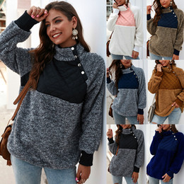 Diseño de lujo abrigos de invierno de ropa de mujer Sherpa remiendo suéteres de lana con capucha para damas femeninas Ropa de las mujeres de la chaqueta del abrigo de pieles desde fabricantes