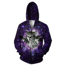 cat print jumper Coupons - Glitter Zip-Up Hooded Kitten 3D Print Cat Galaxy Space Nebula Tops Jumper Men Zipper Outfits Hoodies Sweatshirts Coats