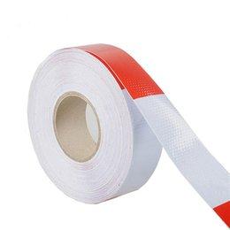 Fita reflexiva branca on-line-5 centímetros * 45M Reflective Tape Rolo Branco e vermelho Trailer Conspicuity Dot Sfety aquecimento fita reflexiva para Veículo
