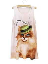 dame chat avec un chapeau pas cher vêtements chine yeux bleus robe de chat imprimé 2015 nouvelle arrivée sans manches grand ourlet robe sexy # 396208 ? partir de fabricateur
