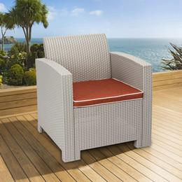 outdoor furniture sofa sets Desconto Todo o tempo ao ar livre encosto único sofá pátio cadeira Morden jardim salão sofá cadeiras conjunto poltrona pátio plástico móveis de vime cinza branco
