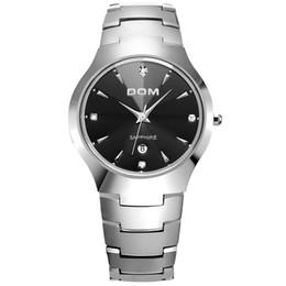 Черные часы вольфрама онлайн-Бесплатная доставка полный высокое качество мужские часы вольфрама стали черный серебро керамические круглые оптовые наручные часы работает Спортивные кварцевые часы