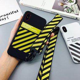 Colhedores para casais on-line-Moda Off Tide listra branca capa para iPhone Casal 11Pro Max X XS Max XR Hipster Capa Para iPhone11 Pro Tampa 8plus ilicone Com cordão