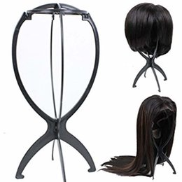 wholesale wigs hairpieces Coupons - 1 PC Portable Adjustable Black Wig Stand Salon Durable Plastic Folding Wig Holder Mannequin Head Hairpiece Support Display Tool