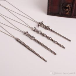 varas de prata Desconto Vintage Harry Filme Inspirado Varinha Mágica Pingente de Colar de Bronze Antigo de Prata para Potter Cabeça Presente CX318