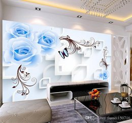 обои для рабочего стола Скидка Blue Rose Цветочные обои 3D Настенная картина для гостиной Главная Wall Art Decor Живопись Wallcovering Европейский 3D цветок Обои