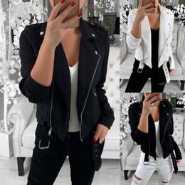 Chaquetas diagonales con cremallera online-Mujeres chaqueta de la motocicleta diagonal Cremallera diseño Corto Abrigo femal solapa Montar Racing Chaquetas Moto Negro Outwear Ropa de la bici