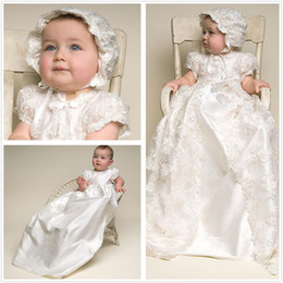 2019 vestido de comunión escote ilusión Encantador bebé Vestidos de primera comunión Vestidos de niña de flores para bodas Dos piezas de encaje Marfil blanco Litera larga Niños Vestidos de comunión