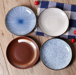 Piatti di riso online-Nuovo di alta qualità in stile giapponese disco piatto in ceramica piatto piatto di salsa di frutta piatto da dessert classico piatto di sushi ciotola di riso stoviglie all'ingrosso