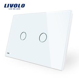 Interruttore a parete LIVOLO, 110 ~ 250V, pannello in vetro bianco avorio, interruttore tattile standard AU / US con indicatore LED cheap wall switches led indicator da l'indicatore principale dell'interruttore a parete fornitori