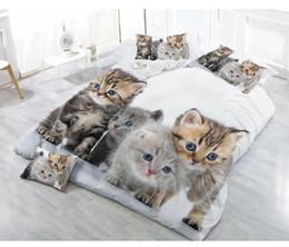 reina del edredón del gato Rebajas 4PCS 3D poliéster CAT lecho imprime cubierta del Duvet de la reina hoja de tamaño de cama / 1PC 1PC Tapa de Consolador / 2 PCS fundas de almohada