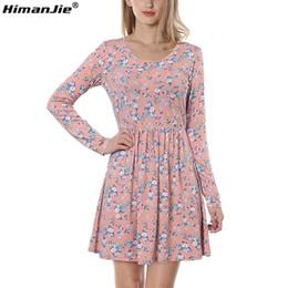 Himanjie Mujer Otoño Primavera Vestido Vintage Manga Larga Estampado Floral Vestido  Mujer Retro Vintage Elegante Túnica Vestidos de Punto vestido de punto ... 1e05e01d79ba