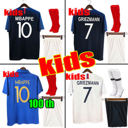 153135be852 1919 2019 Two stars 2 GRIEZMANN MBAPPE Kids France soccer jersey boys child  Centenary POGBA Long sleeve football shirt maillot de foot 19 20