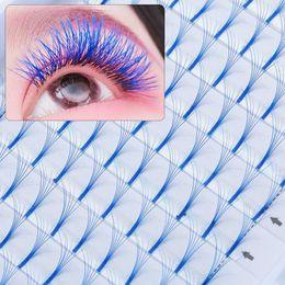 2020 olhos azuis cílios falsos 12Lines 6D Cor Azul cílios postiços Natural Longo Volume russo Lashes 0,07 Espessura C Acessórios da composição da onda Handmade Eye olhos azuis cílios falsos barato