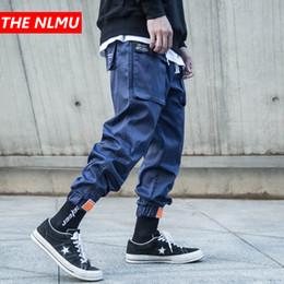 Deutschland Mens multi-pocket pluderhosen männer streetwear punk cargohose hip hop casual hosen joggers männlich schwarz blau hosen wg143 cheap blue hip hop harem pants Versorgung
